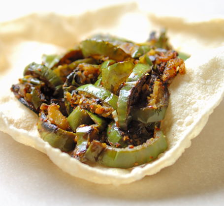 Cumin Flavored Green Brinjal Curry on a Papad ~ Meal for Myself