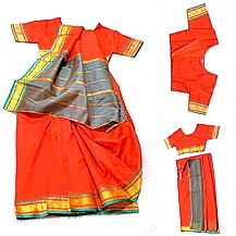 Children's Saree Dress with Matching Blouse in Red